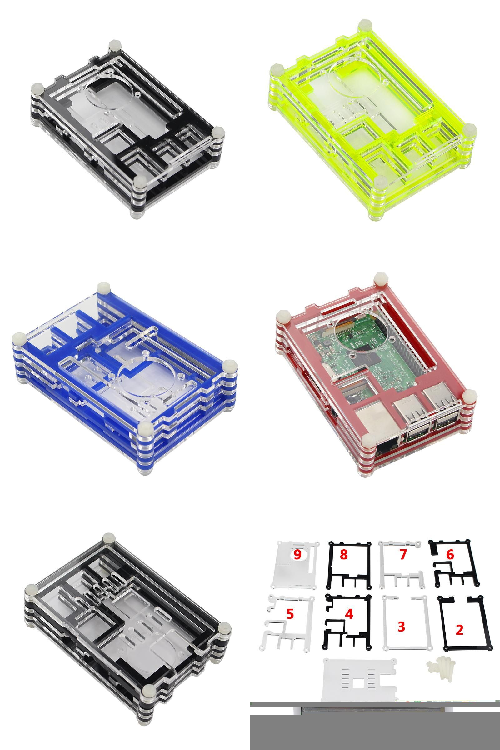 Raspberry Pi 2//3 Model Acrylic Shell Transparent Case Cover with Fan Cooler