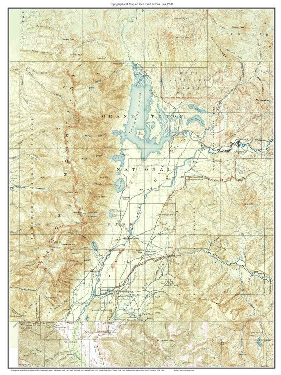 Grand Teton National Park Jackson Hole Ca 1900 Custom Usgs