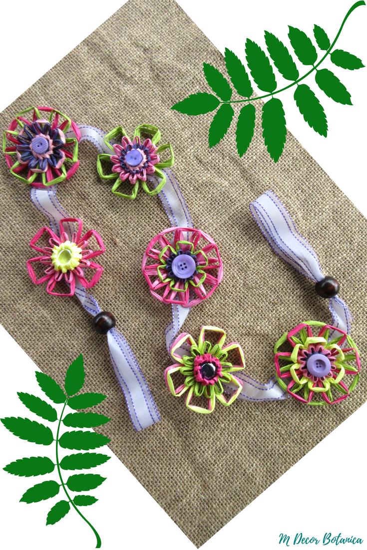 Paper Raffia Flower Garland by M Decor Botanica handmade