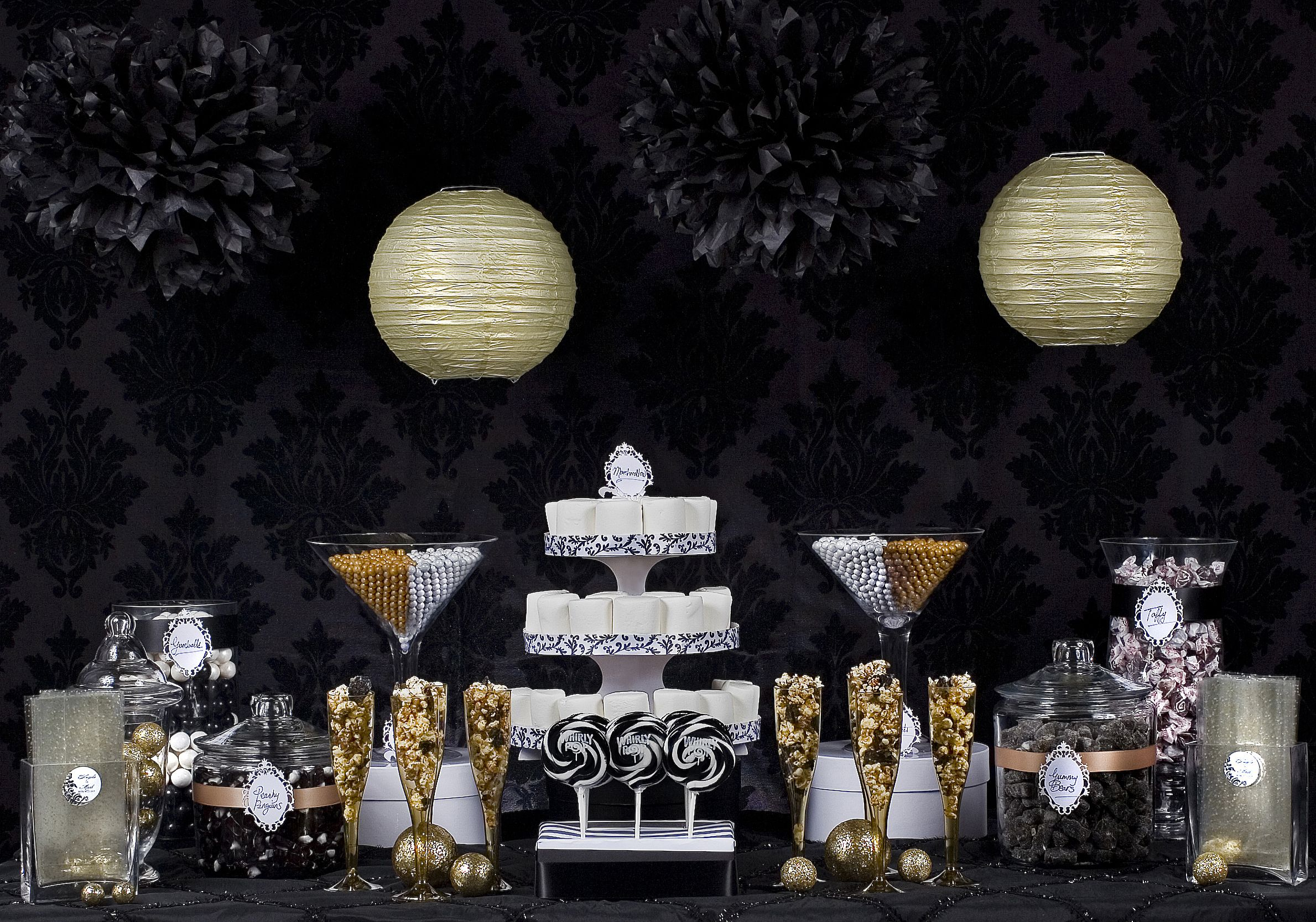Black & Gold candy buffet Add a few black tree branches with black
