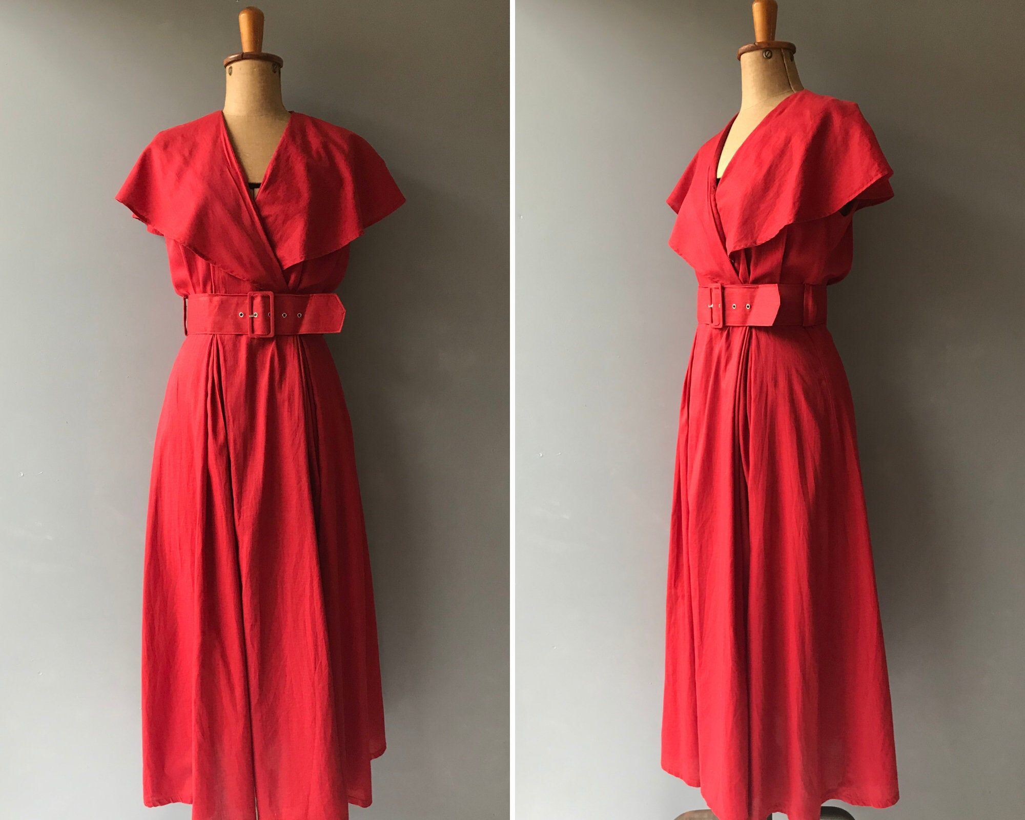 Vintage 80s Red Cotton Dress Romantic Boho Maxi Small Etsy Dresses Vintage Red Dress Boho Maxi Dress [ 1600 x 2000 Pixel ]