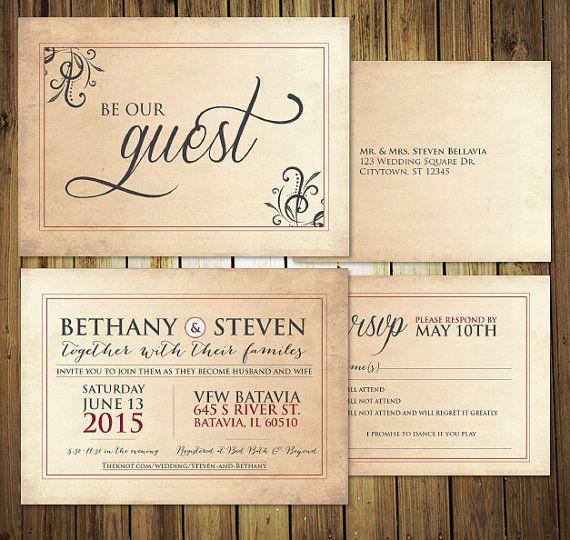Be Our Guest Wedding Invitation Rsvp Menu Postcards Etsy Wedding Invitations Rsvp Wedding Invitations Invitations
