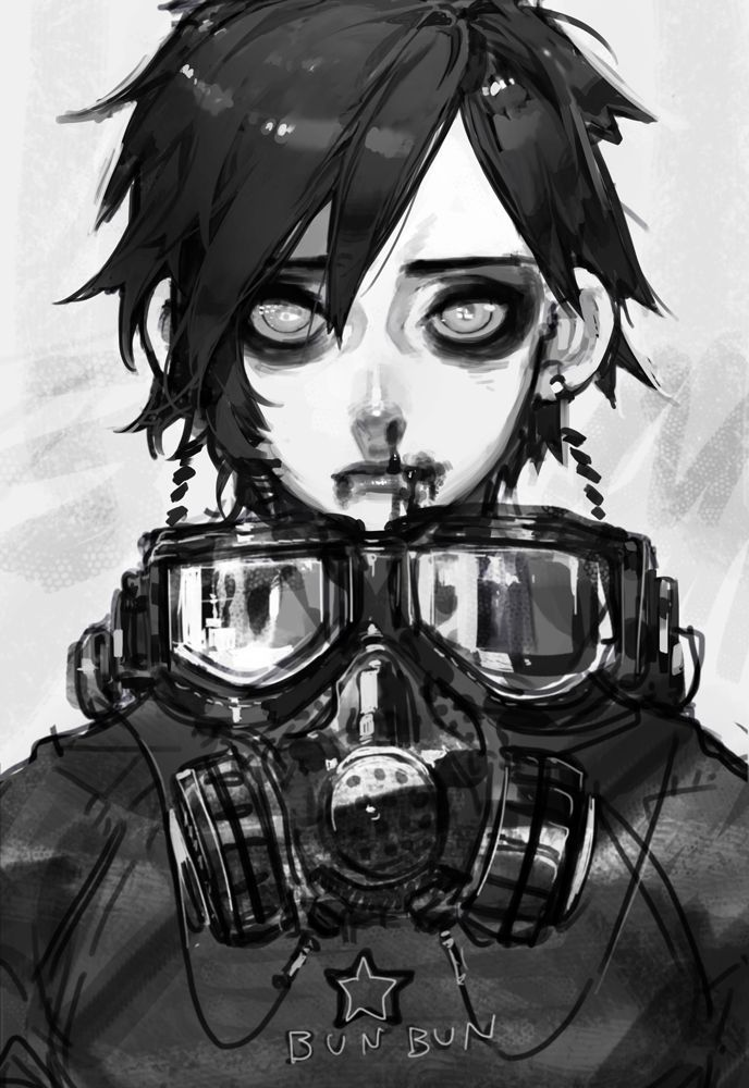Gas mask digital art anime google search alternative - Anime girl with gas mask ...