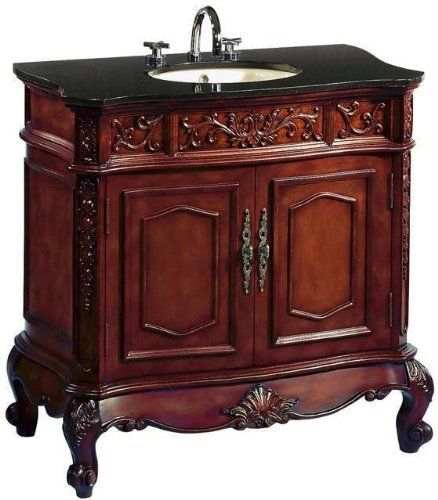 43 Inch Adelina Vintage Bathroom Vanity Antique Cherry Finish Vintage Bathroom Vanities Bathroom Sink Vanity Vanity Sink