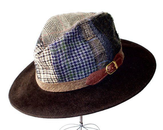 Patchwork Hat Wool Tweed Men s Hat Women s Hat Plaid Fedora Hat Winter  Accessories Fall Fashion Gift 7d49d8ded93