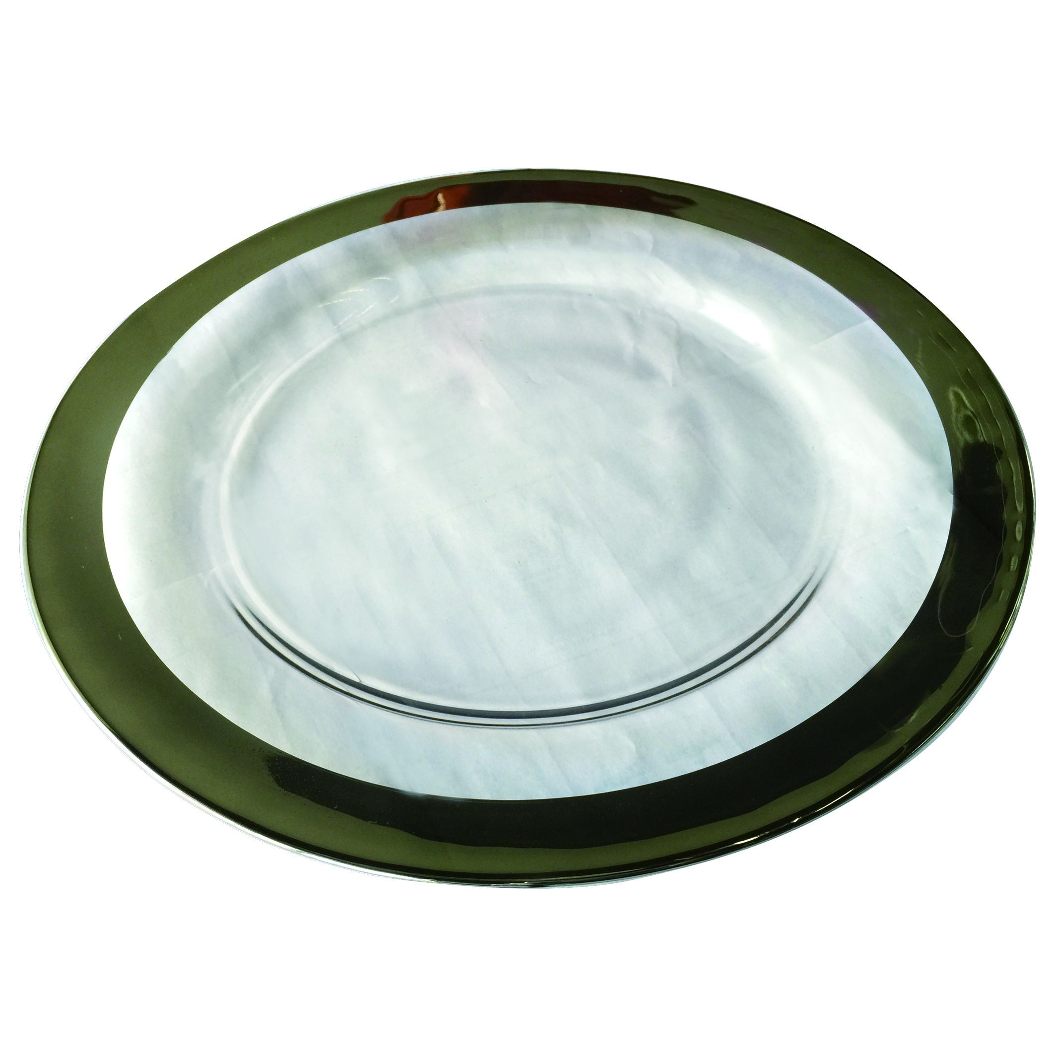 Wide Silver Banded Rim 13-inch Charger