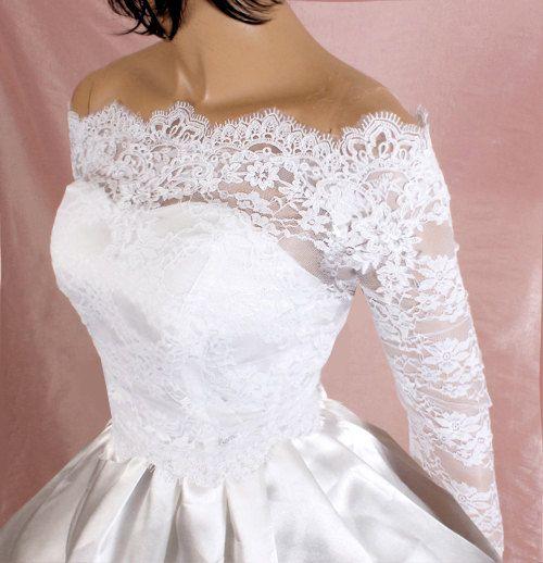 Plus Size Off-Shoulder Wedding Shrug, Lace Bridal Jacket