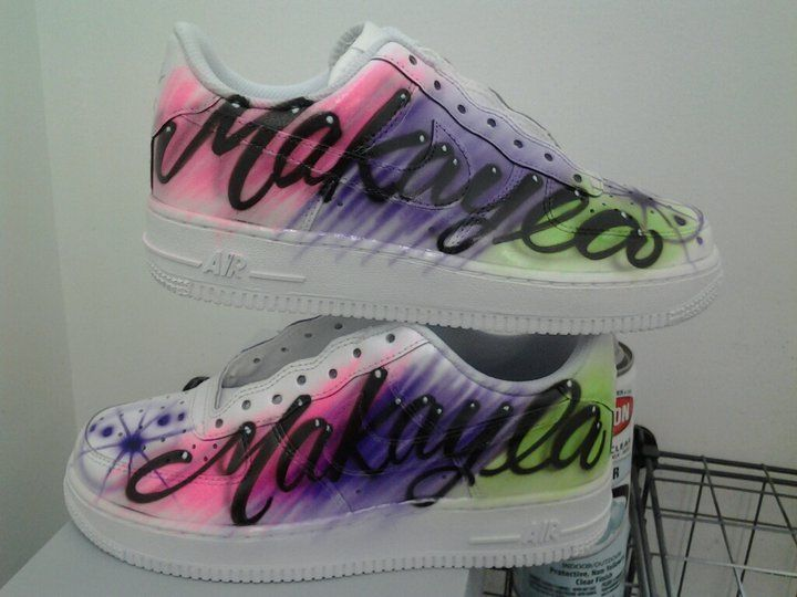 1b069afad22e Airbrushed rainbow background with a name on white shoes ...