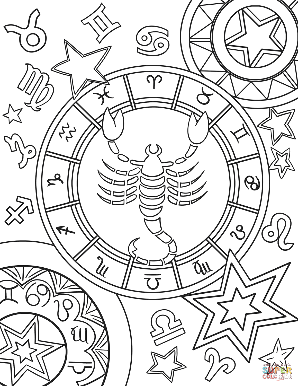 Scorpius Zodiac Sign Coloring Page Free Printable Coloring Pages Geometric Coloring Pages Abstract Coloring Pages Mandala Coloring Pages