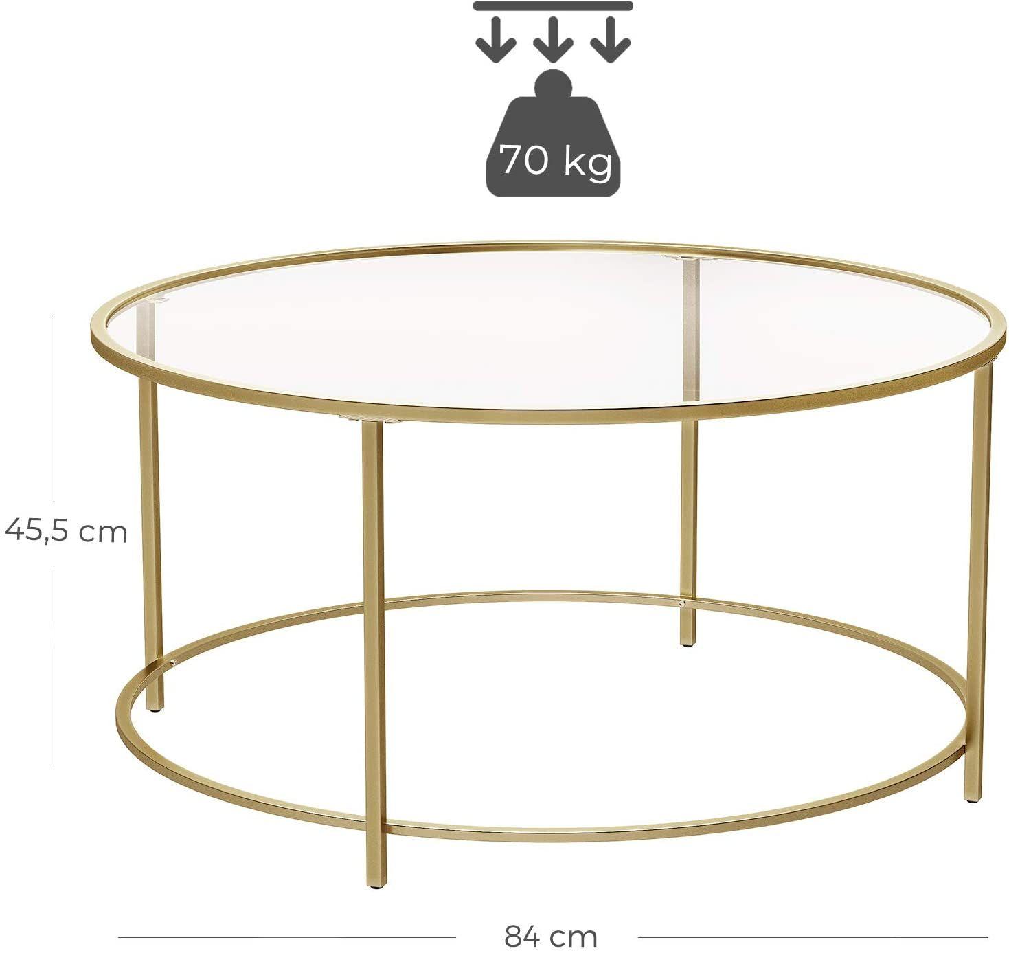 Vasagle Table Basse Ronde Plateau En Verre Trempe Armature Metallique Doree Table De Salon Bout In 2020 At Home Store Table Design Table