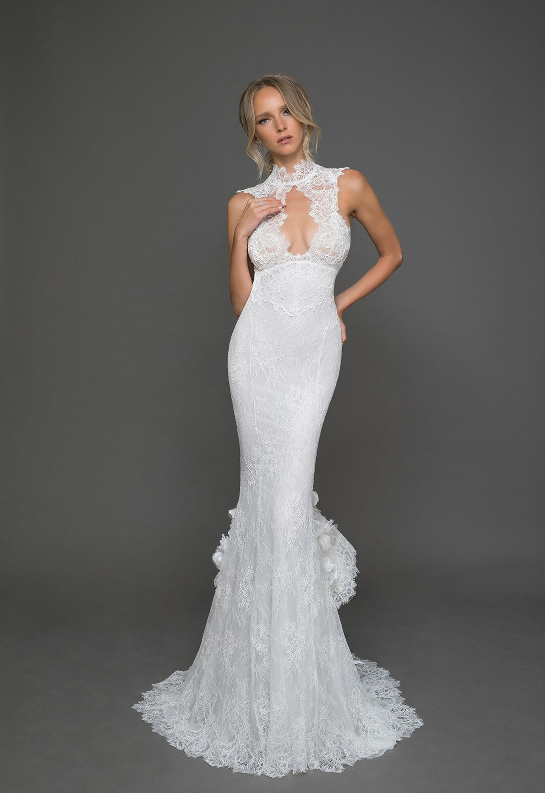 Wedding dress high neck low back  High neck Chantilly lace mermaid gown with low keyhole back buttons
