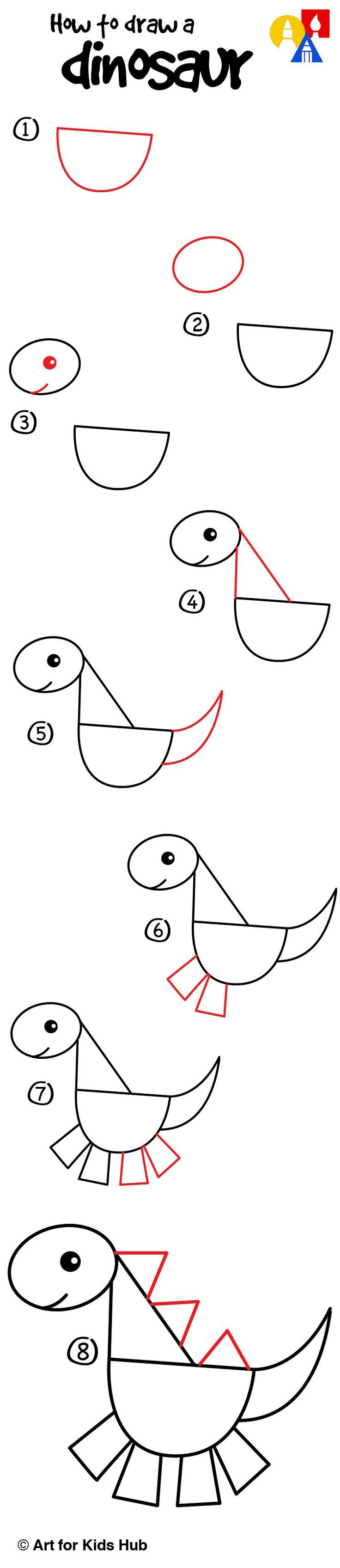 How To Draw A Dinosaur With Shapes Art For Kids Hub Draws Like