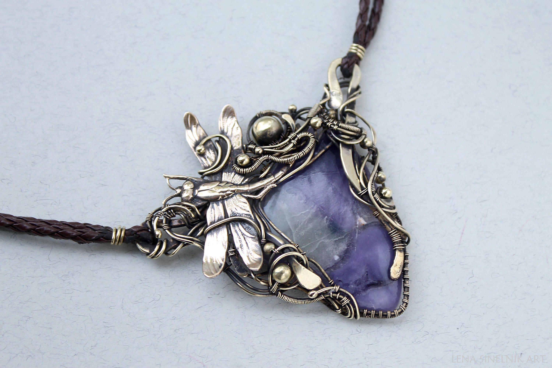 Fluorite dragonfly Wire wrap necklace Wire wrapped jewelry Big ...