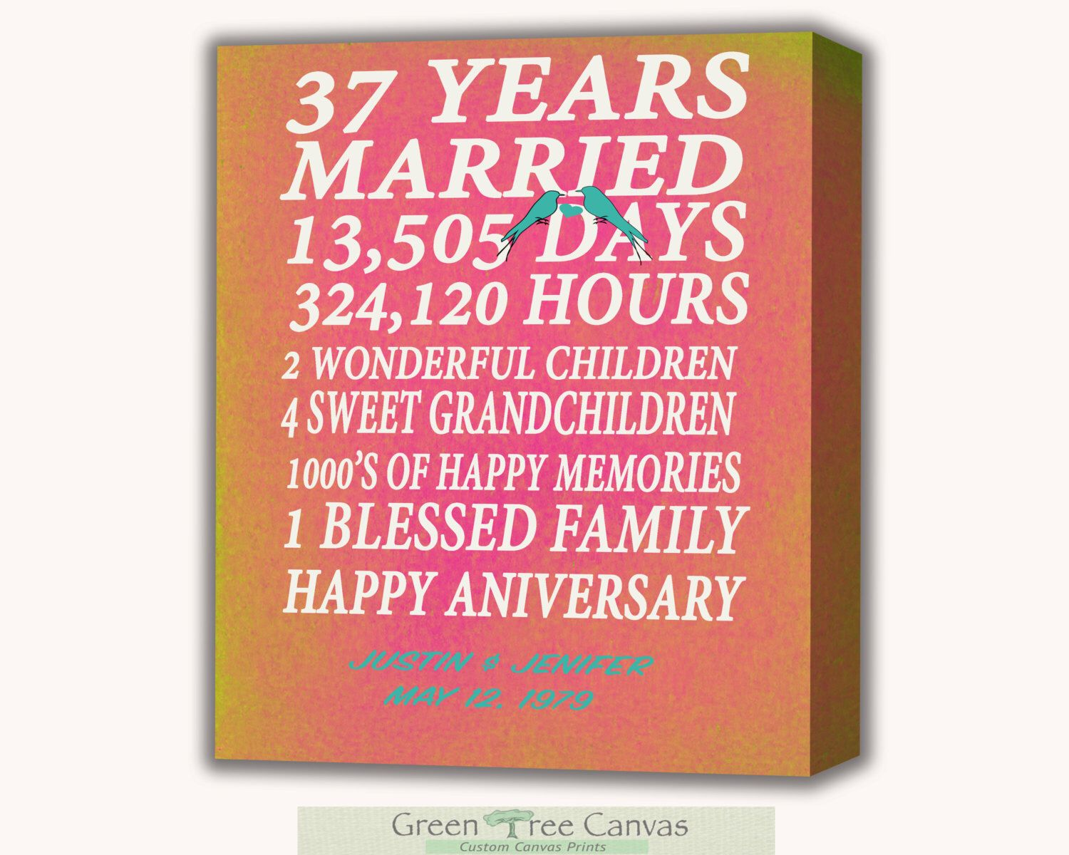 37th Wedding Anniversary Gifts: Pin By Green Tree Canvas On Gift For Parents