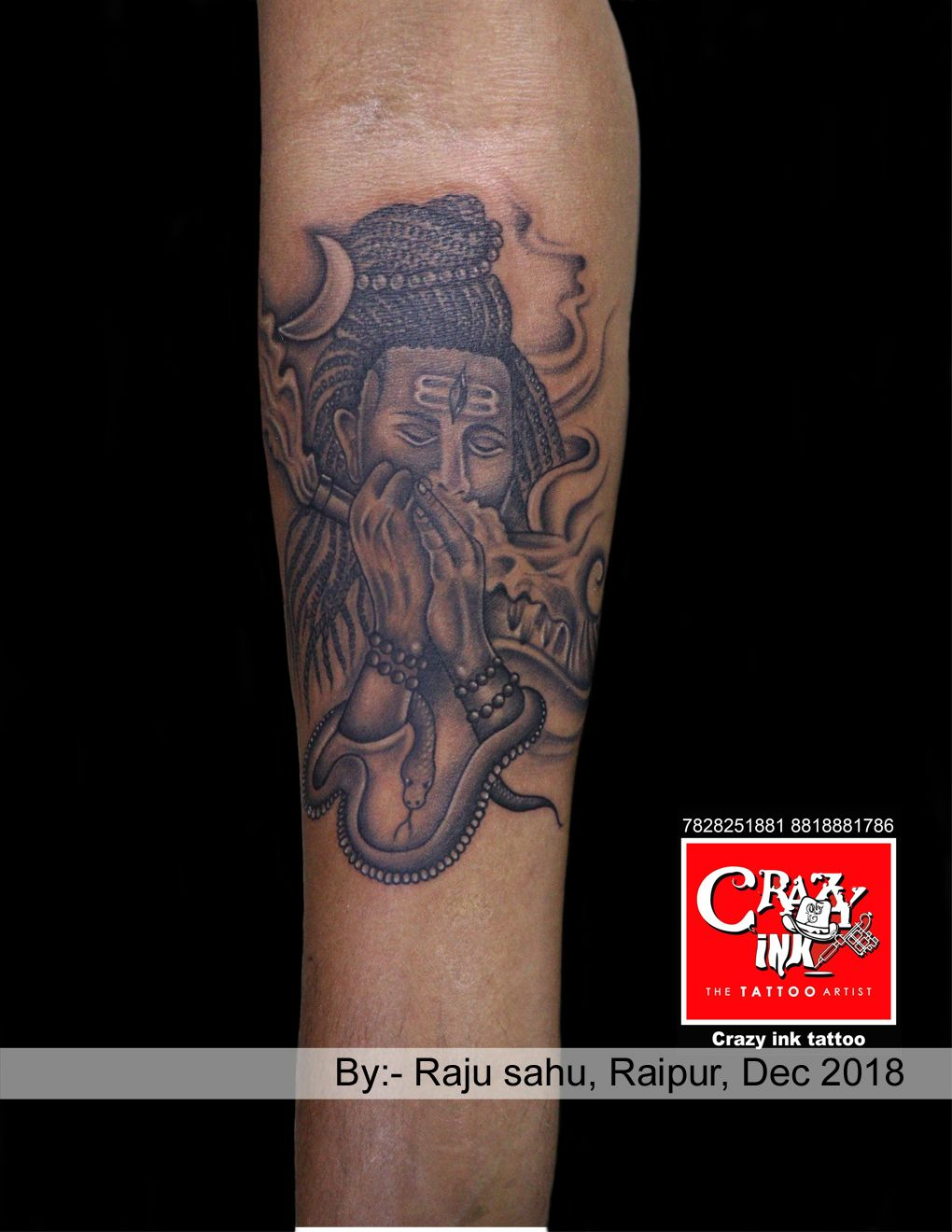 e1973cff1 Smoking Lord Shiva tattoo with Chillum. Done by tattoo artist Raju sahu, At  crazy