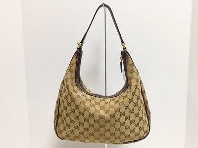 Auth Gucci Gg 153010 Brown Beige Darkbrown Jacquard Leather Shoulder Bag Ebay Link