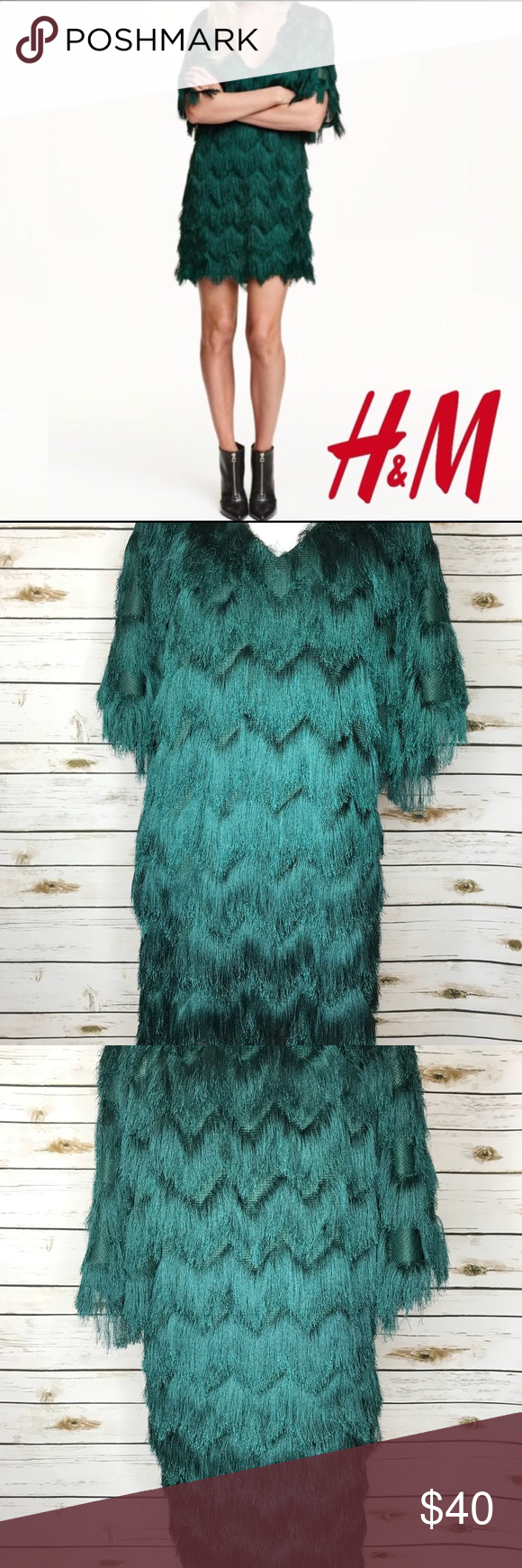 H&M Dark Green Zig Zag-Cut Fringe Mini Dress NWT NWT Great Holiday ...