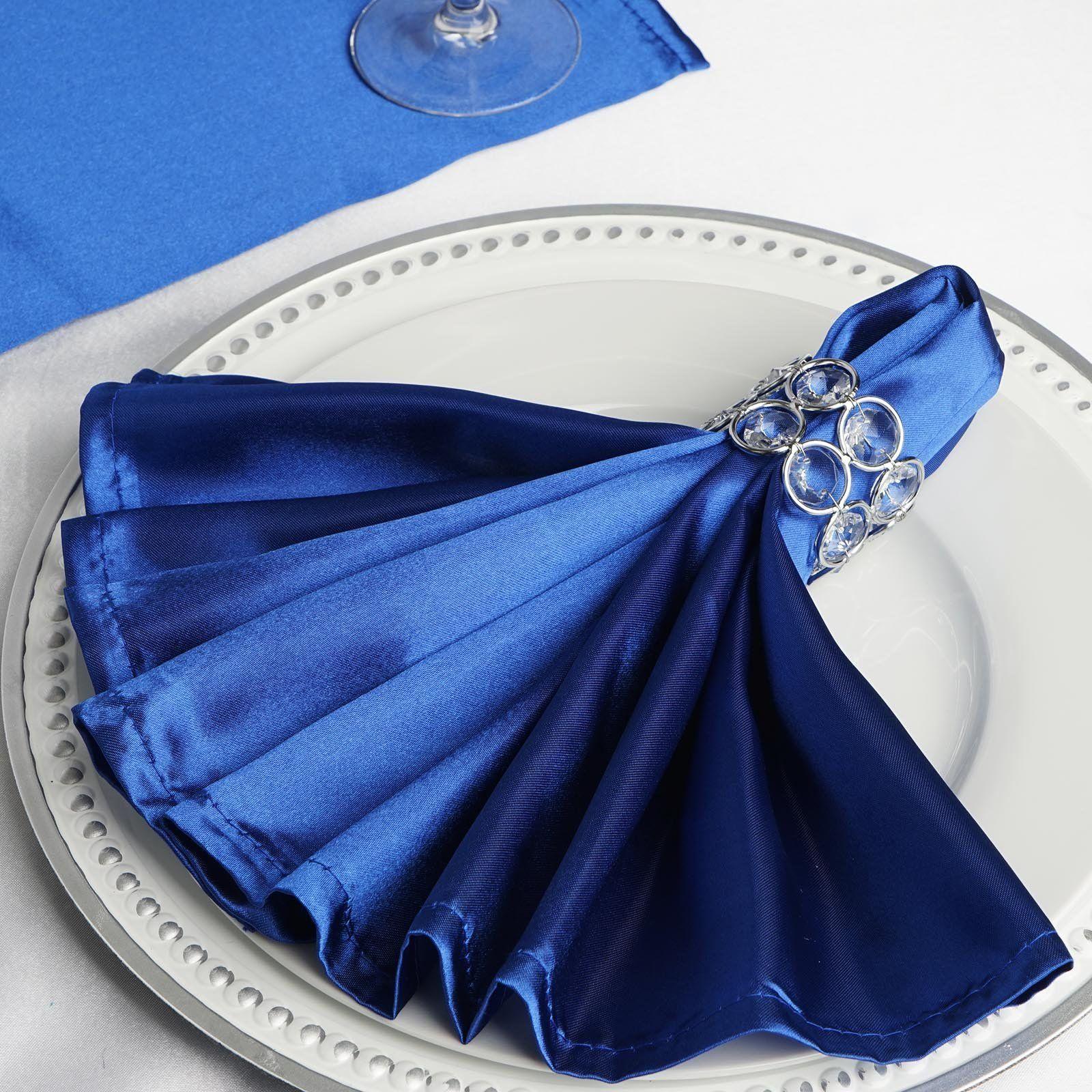 5 Pack 20 X 20 Royal Blue Satin Linen Napkins In 2019
