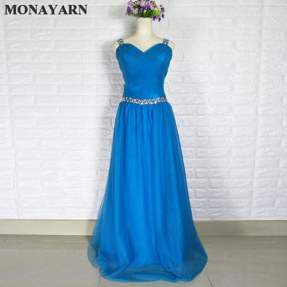 Click to buy ucuc royal blue long dress hat sleeve beaded crystal