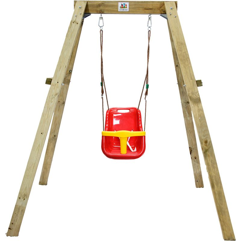 Timber Deakin Single Swing Set With Baby Seat For The Kids