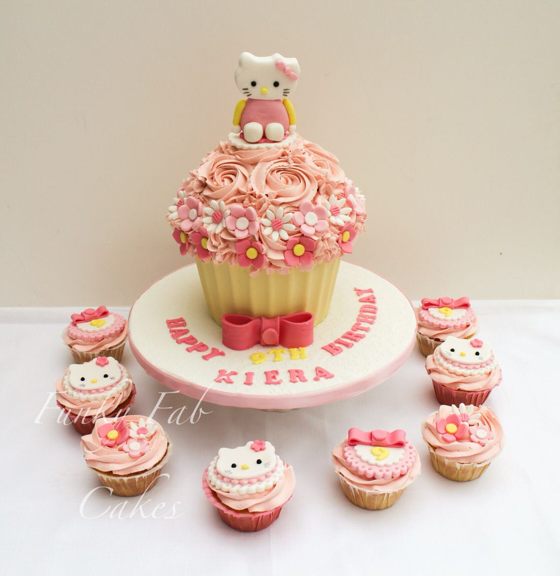 Hello Kitty Giant Cupcake With Matching Cupcakes