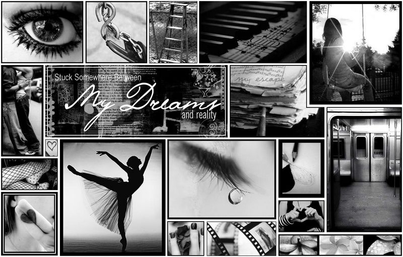 Black and white photo collage good beautiful ballerina myspace layout blackgray and pink ballerina