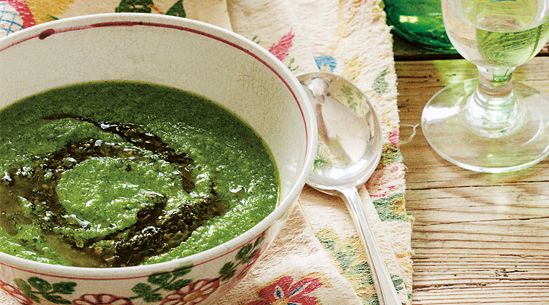 pea, pesto & arugula soup