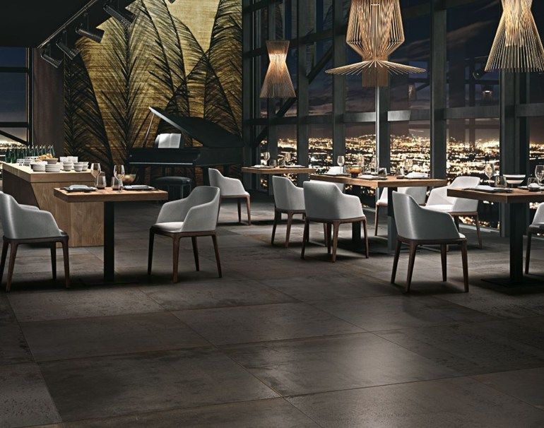 bodenbelag aus feinsteinzeug mit metall effekt kerlite metal by cotto deste restaurant