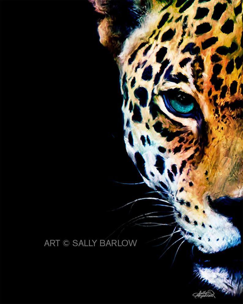 Colorful Jaguar Leopard Painting Mixed Media Art Print Or Etsy Leopard Painting Leopard Art Lion Canvas Painting
