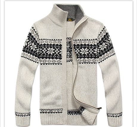 NIANJEEP Brand Thick New White Blue Gray Men Long Sleeve Winter ...