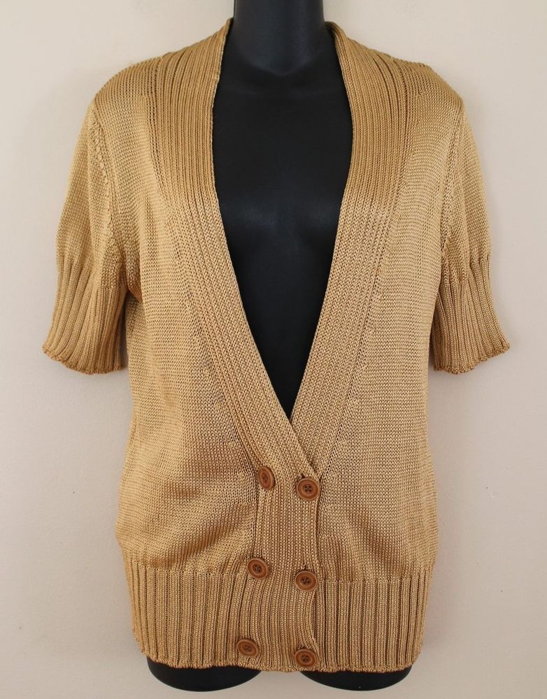 Missoni Gold Short-Sleeve Ribbed Knit Button Up Cardigan Made in Italy YJ01   2535b65e7