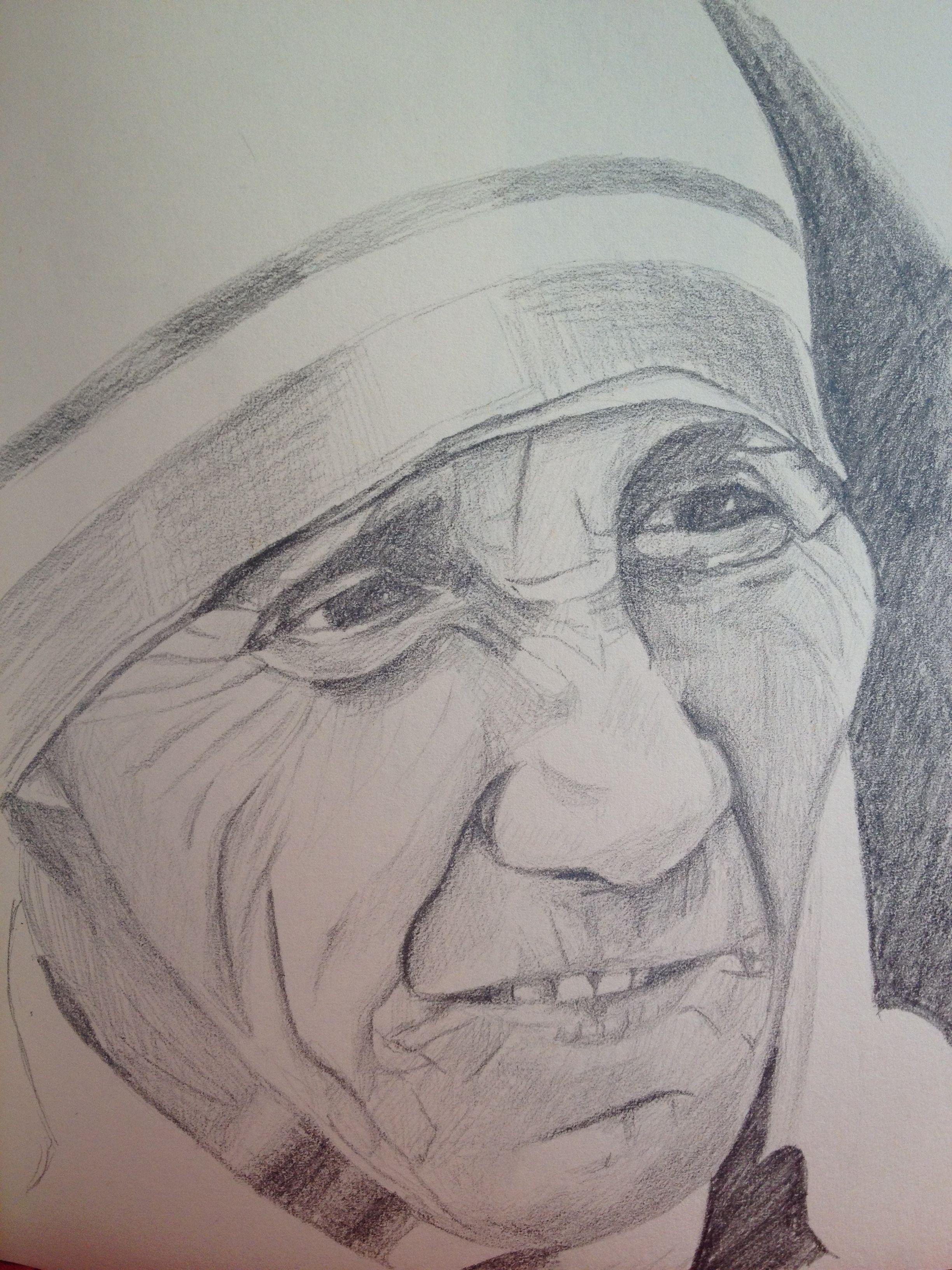 Pencil sketch mother teresa