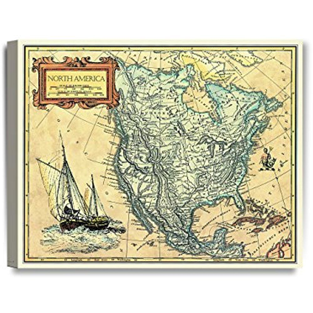 Framed North America Map Vintage Retro Canvas Art Prints Picture ...