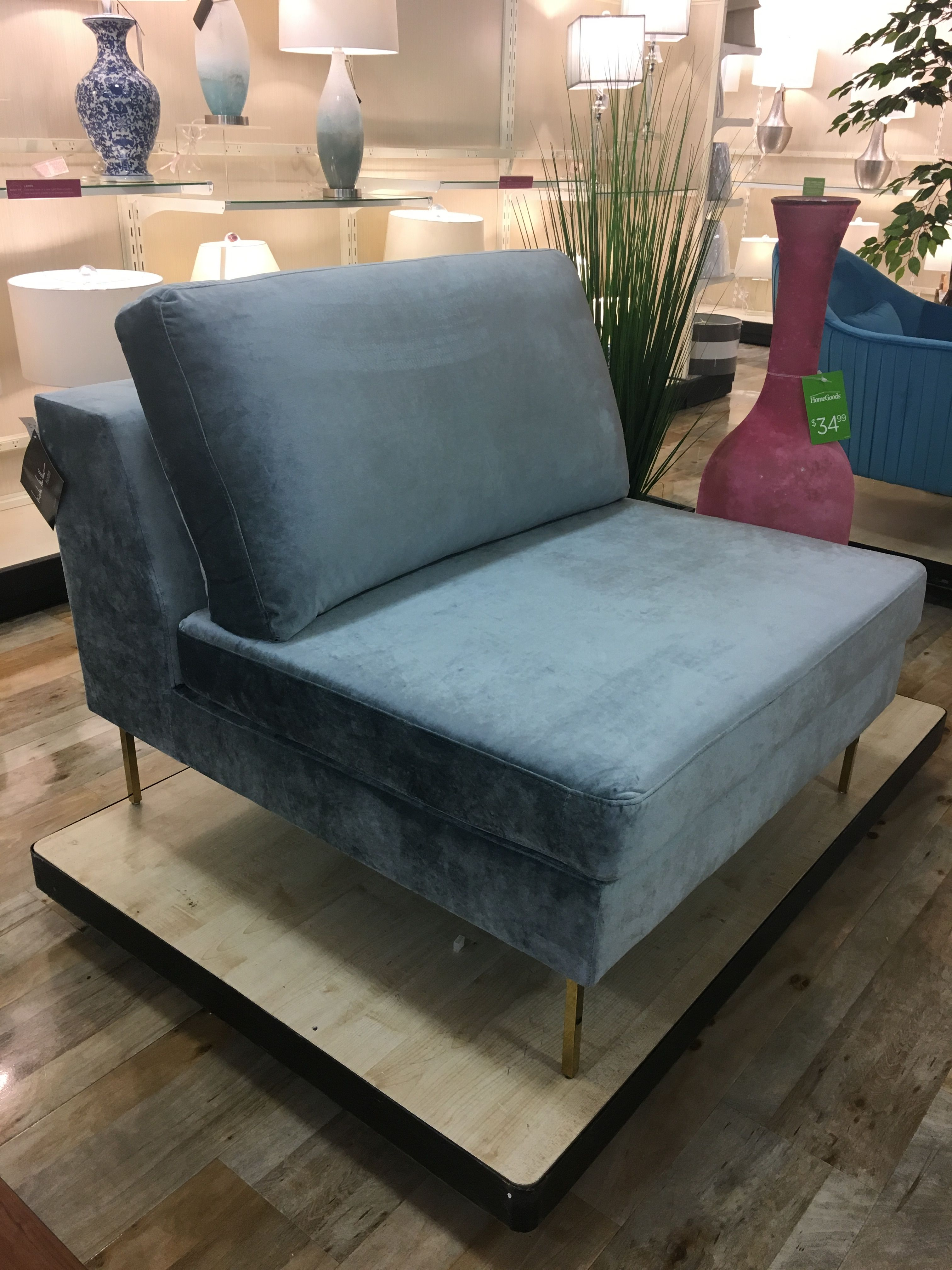 Best Suede Powder Blue Half Chaise Chaise Chaise Lounge 400 x 300