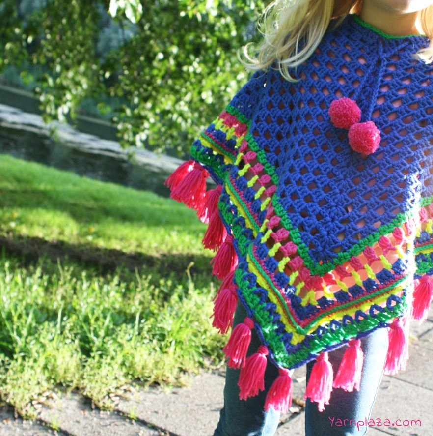 Cheerful Free Crochet Pattern: Poncho for kids