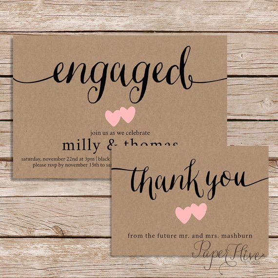 Engagement Party Invitation and Thank You card set \/ Rustic - how to word engagement party invitations