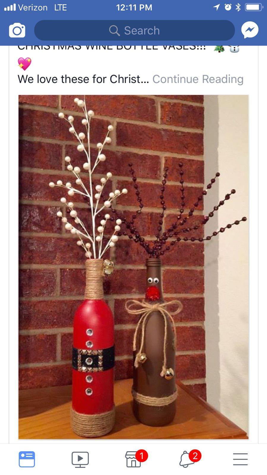 Pin By Priscilla Ortega On Wine Bottles Christmas Wine Bottles Bottles Decoration Christmas Wine