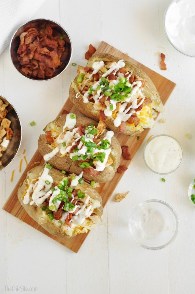 Chicken Bacon Ranch Baked Potatoes ~ Easy and delicious dinner recipe! Loaded baked potato