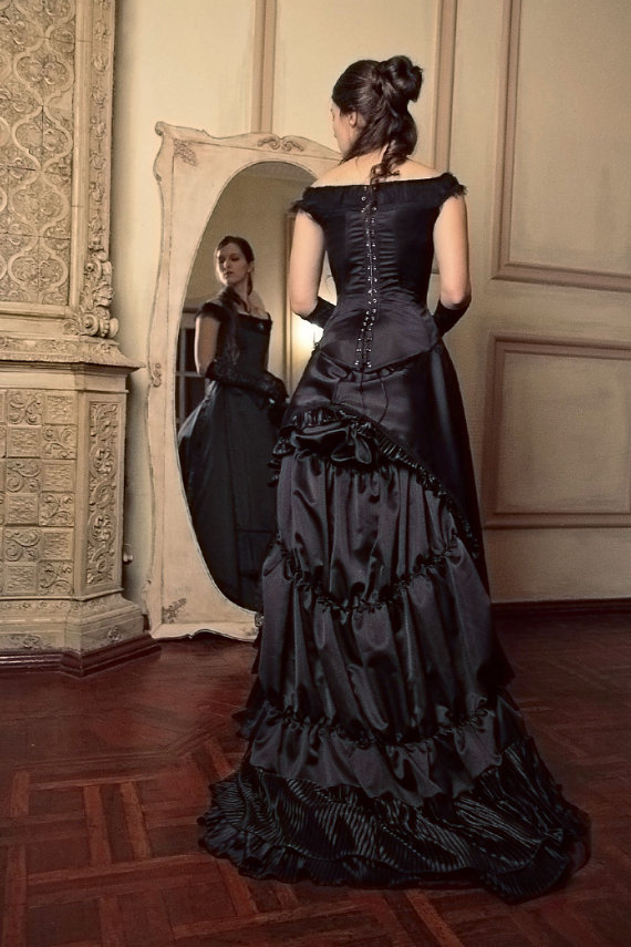 Black Victorian Bustle Dress, 1880s Ball Outfit, Black