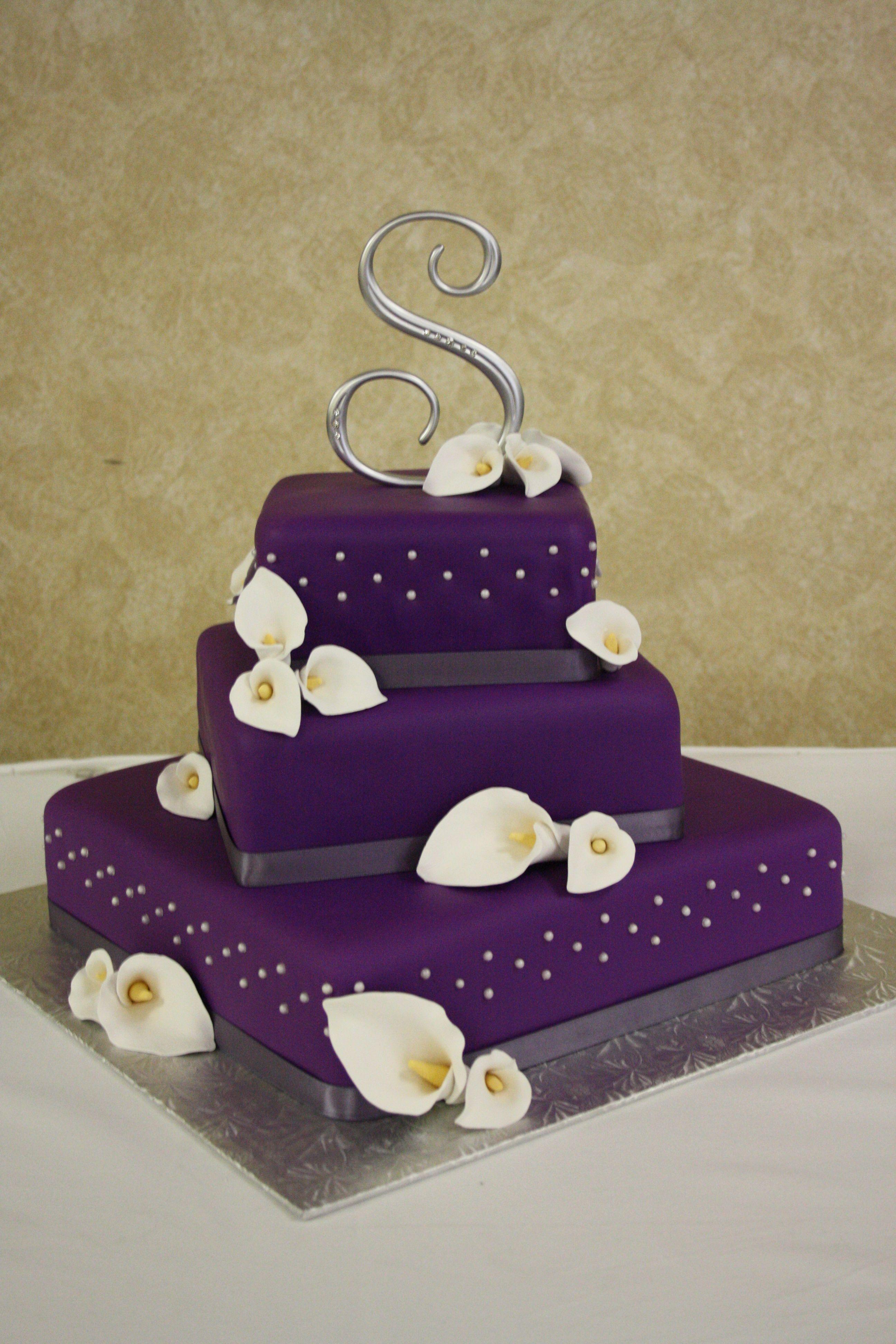 Wedding cake purple wedding cake with hand made calla lilies