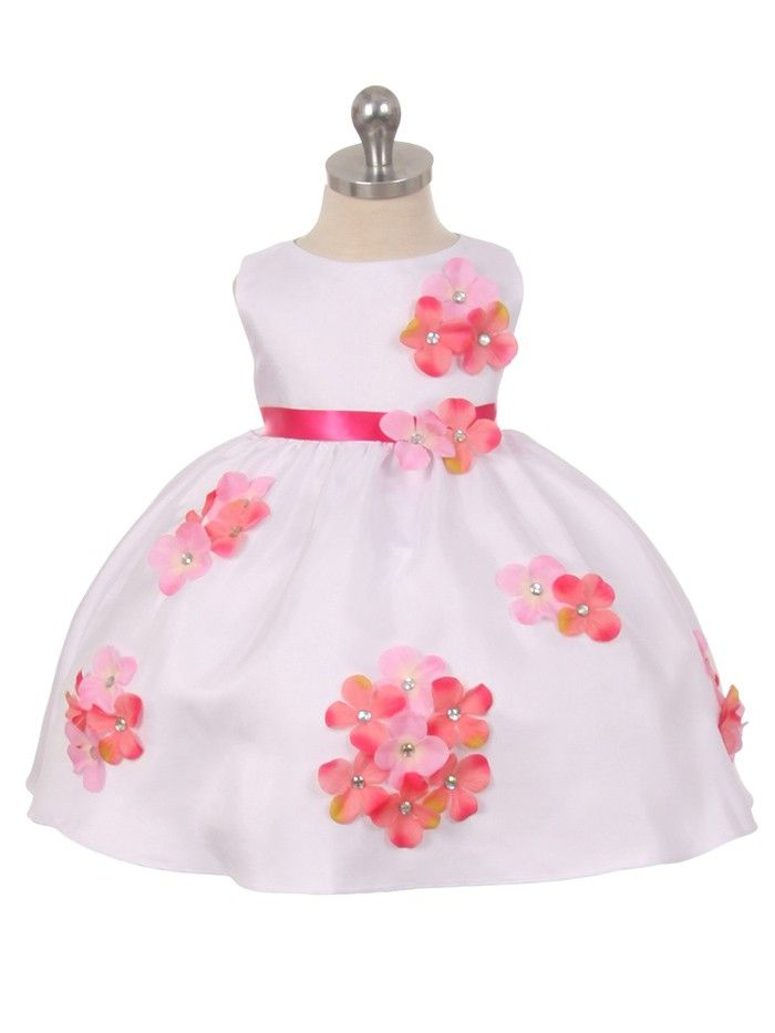 3c4f75ae6c3a White or Ivory Shantung Pick Your Flower Petal and Sash Flower Girl ...