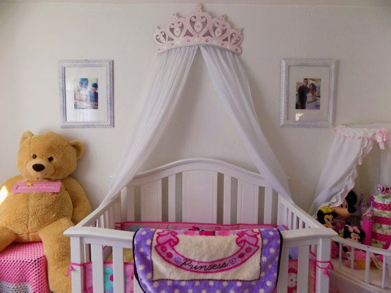 Crib Canopy Bed Crown Pink Princess Wall Decor & Crib Canopy Bed Crown Pink Princess Wall Decor | Stef | Crown wall ...