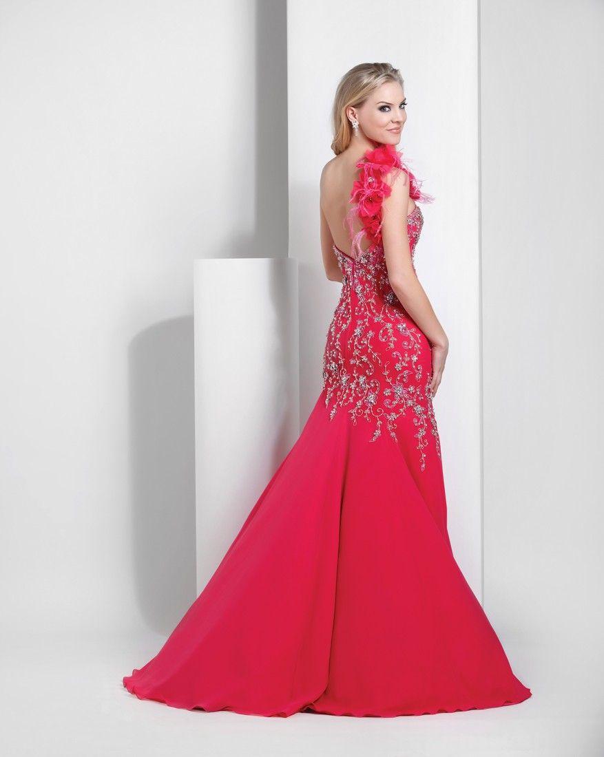 Mermaid floor length chiffon oneshoulder beaded applique prom dress