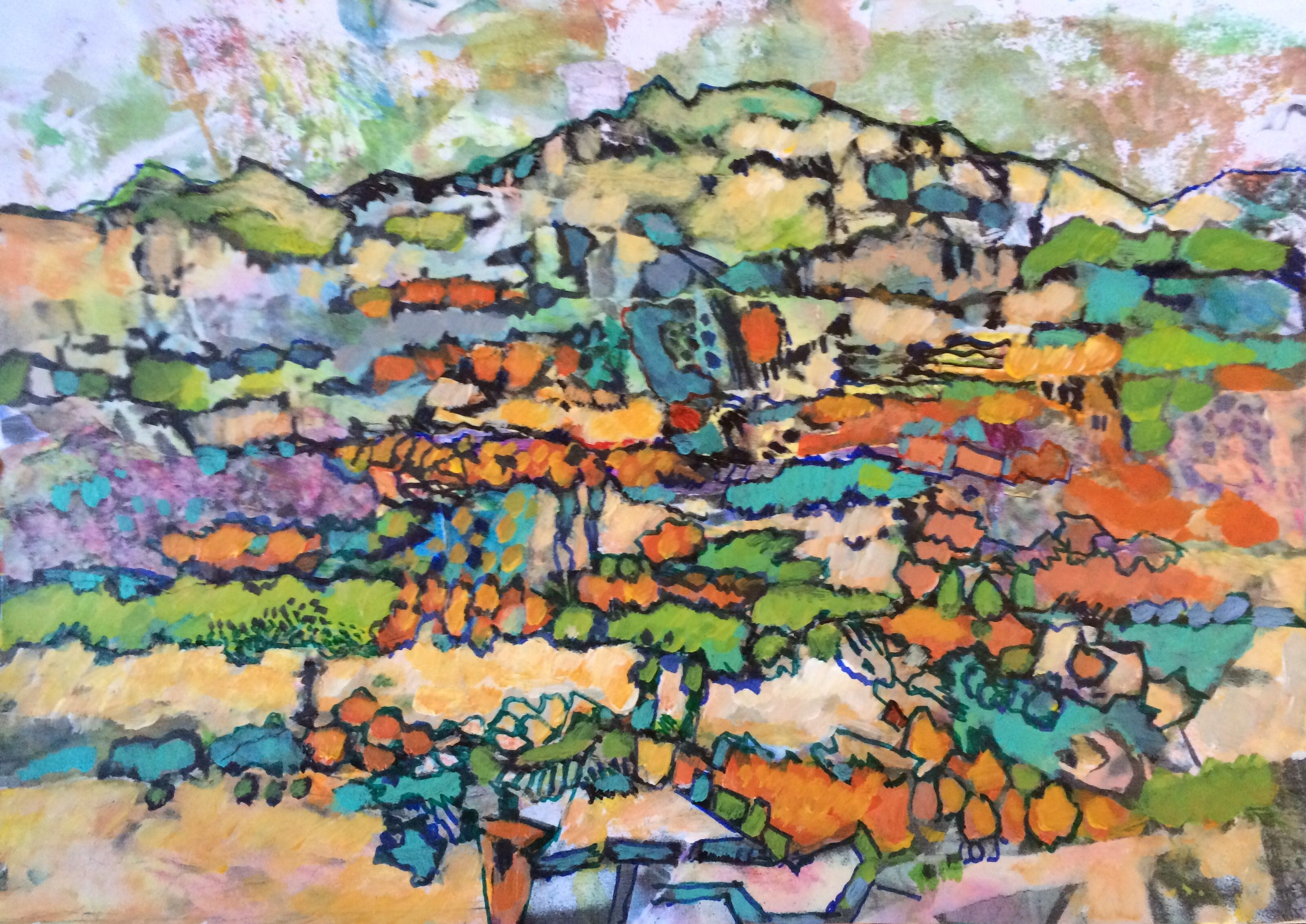 Chava Silverman Modern Contemporary Expressionist Landscape Painting - Dream and fantasy mountain landscape in brilliant color in acrylic and mixed media.