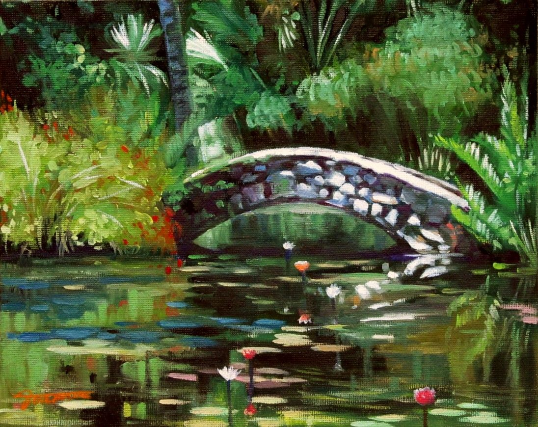 Waterlily Pond With Little Stone Bridge Pond Painting Water