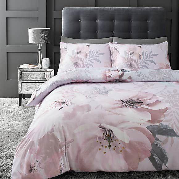 Pink Duvet Cover Fl, Blush Pink And Grey Bedding Dunelm
