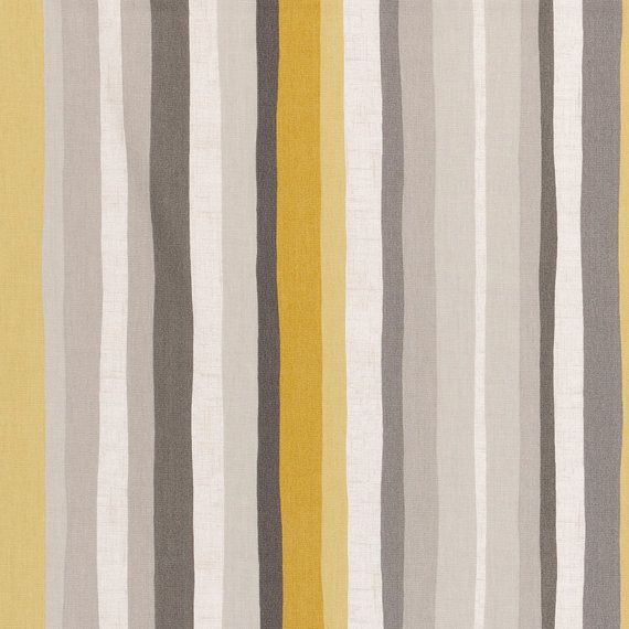 Yellow Grey Stripe Upholstery Fabric - Modern Abstract Striped ...