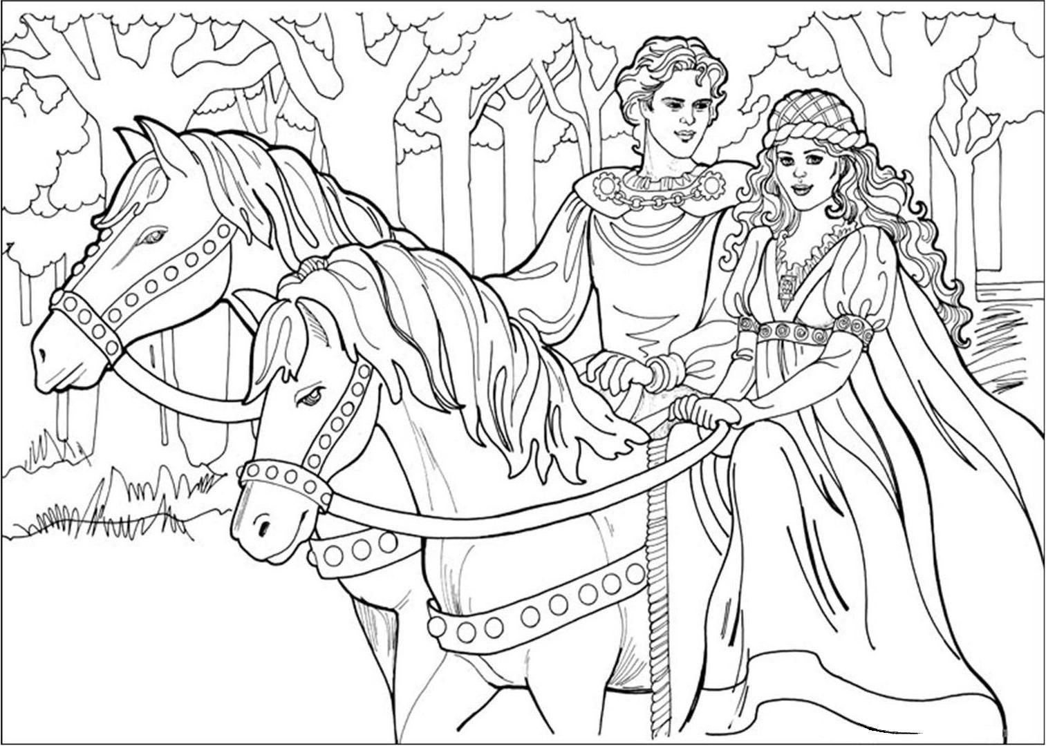 Pour Imprimer Coloriage Princesse 7 Cliquez Sur L Icone De L Imprimante A Droite De Cette Page Horse Coloring Pages Horse Coloring Horse Coloring Books