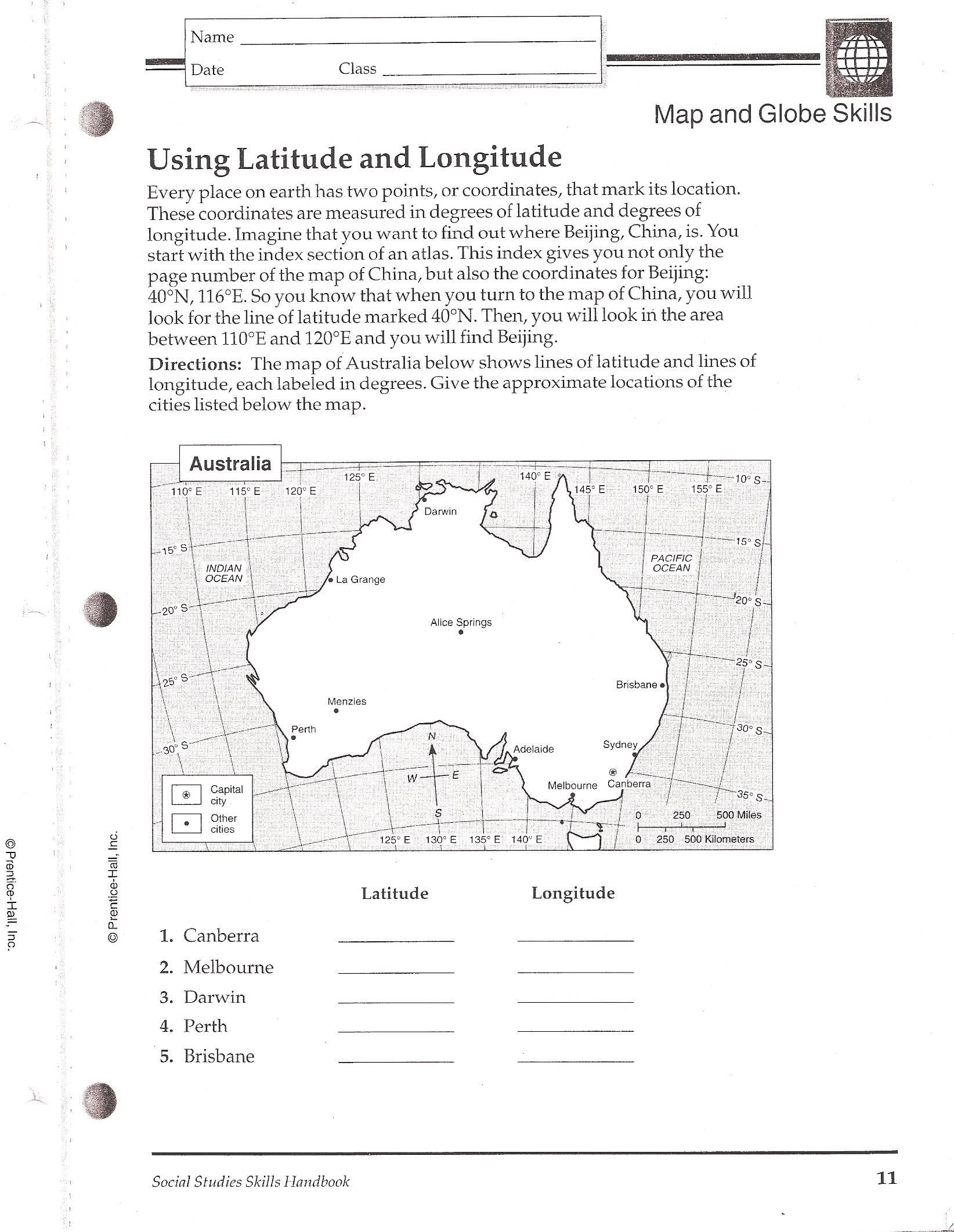 Worksheets Latitude And Longitude Worksheets 6th Grade social studies skills measurement worksheets and latitude longitudequiz