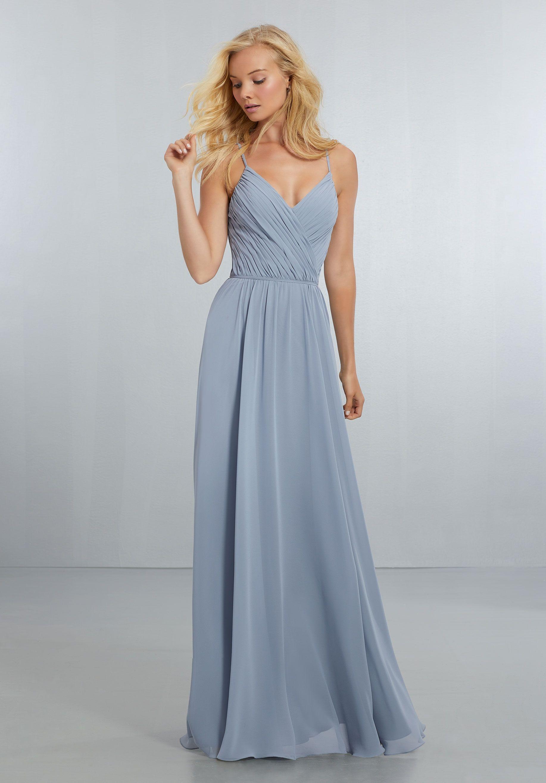 f31e543018 Chiffon Bridesmaids Dress with Draped V-Neck Bodice and Keyhole Back ...